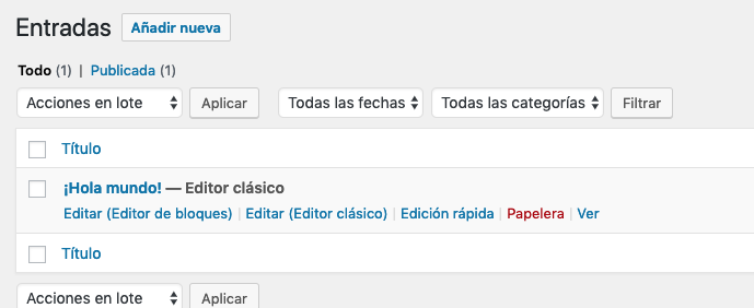 editor clásico wordpress